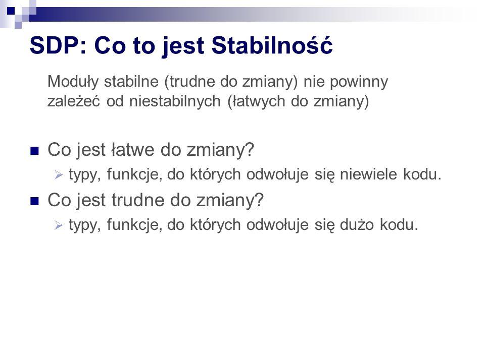 SDP: Co to jest Stabilność Moduły stabilne (trudne do zmiany) nie powinny zależeć od niestabilnych (łatwych do zmiany) Co jest łatwe do zmiany.