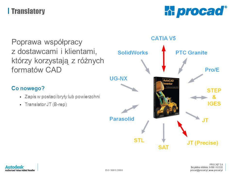 Translatory Poprawa współpracy z dostawcami i klientami, którzy korzystają z różnych formatów CAD Co nowego?  Zapis w postaci bryły lub powierzchni 