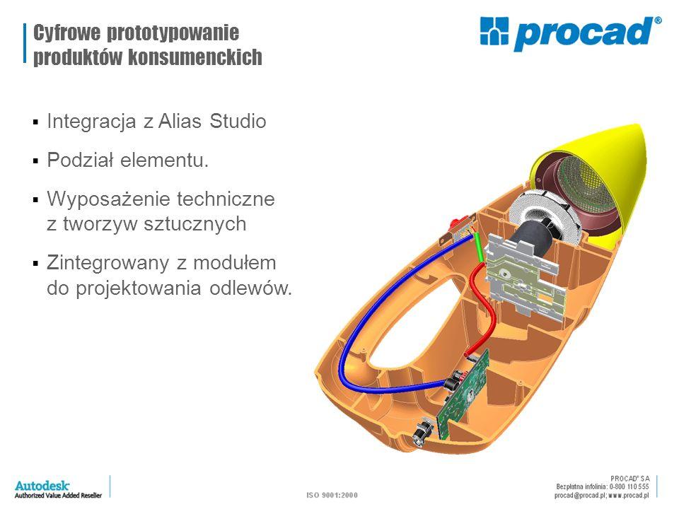  Integracja z Alias Studio  Podział elementu.  Wyposażenie techniczne z tworzyw sztucznych  Zintegrowany z modułem do projektowania odlewów. Cyfro