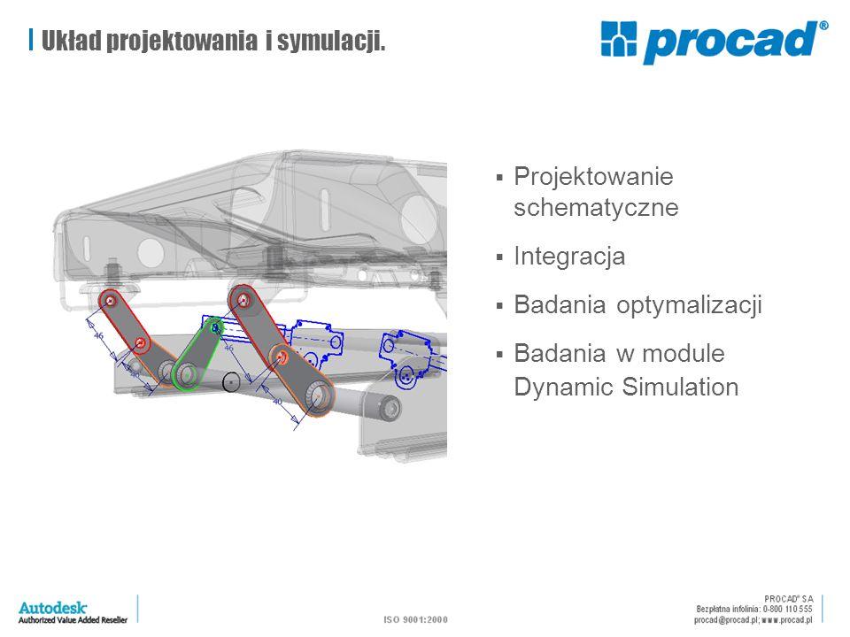  Projektowanie schematyczne  Integracja  Badania optymalizacji  Badania w module Dynamic Simulation Układ projektowania i symulacji.