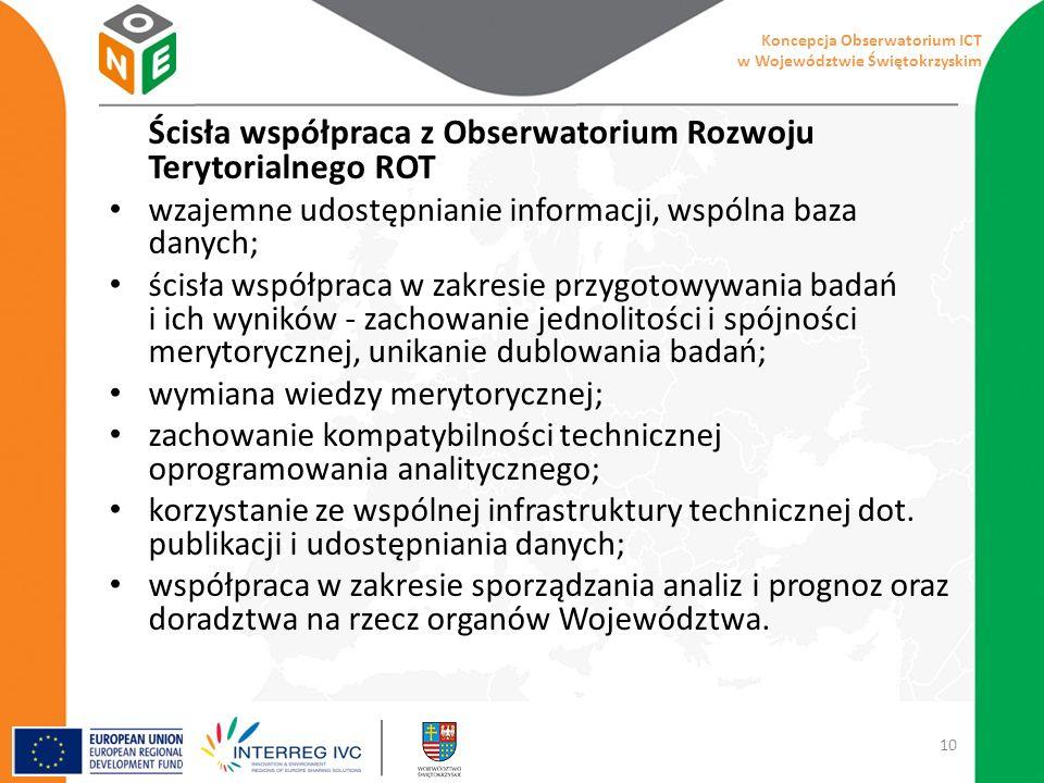 Ścisła współpraca z Obserwatorium Rozwoju Terytorialnego ROT wzajemne udostępnianie informacji, wspólna baza danych; ścisła współpraca w zakresie przygotowywania badań i ich wyników - zachowanie jednolitości i spójności merytorycznej, unikanie dublowania badań; wymiana wiedzy merytorycznej; zachowanie kompatybilności technicznej oprogramowania analitycznego; korzystanie ze wspólnej infrastruktury technicznej dot.