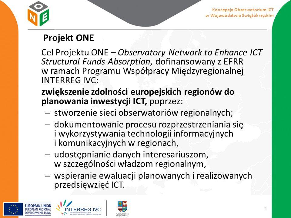 Projekt ONE Cel Projektu ONE – Observatory Network to Enhance ICT Structural Funds Absorption, dofinansowany z EFRR w ramach Programu Współpracy Międzyregionalnej INTERREG IVC: zwiększenie zdolności europejskich regionów do planowania inwestycji ICT, poprzez: – stworzenie sieci obserwatoriów regionalnych; – dokumentowanie procesu rozprzestrzeniania się i wykorzystywania technologii informacyjnych i komunikacyjnych w regionach, – udostępnianie danych interesariuszom, w szczególności władzom regionalnym, – wspieranie ewaluacji planowanych i realizowanych przedsięwzięć ICT.