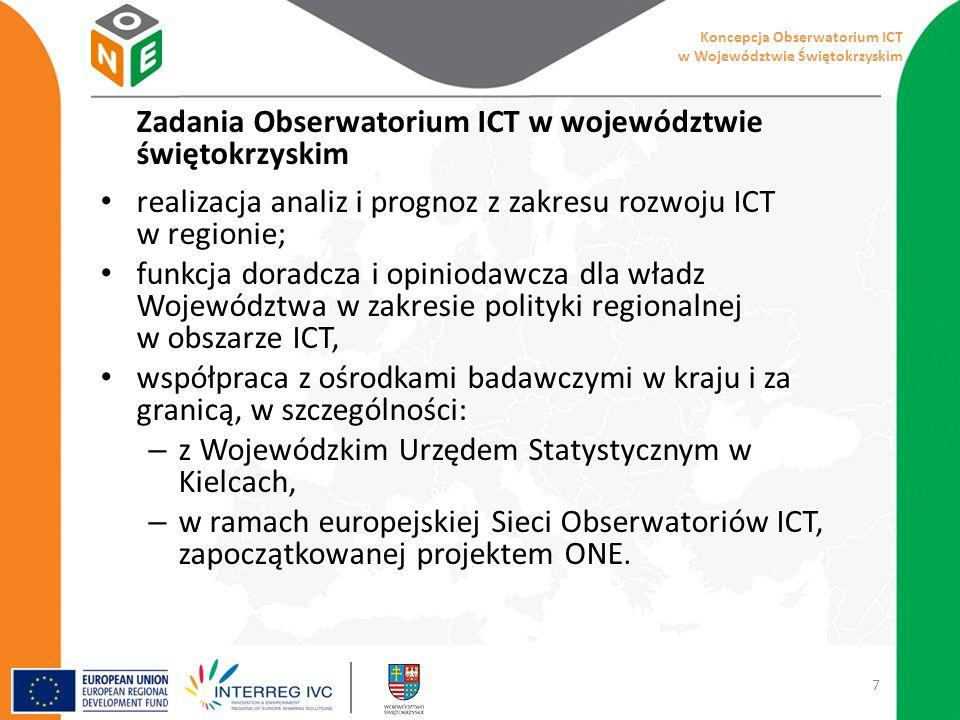 Zadania Obserwatorium ICT w województwie świętokrzyskim realizacja analiz i prognoz z zakresu rozwoju ICT w regionie; funkcja doradcza i opiniodawcza dla władz Województwa w zakresie polityki regionalnej w obszarze ICT, współpraca z ośrodkami badawczymi w kraju i za granicą, w szczególności: – z Wojewódzkim Urzędem Statystycznym w Kielcach, – w ramach europejskiej Sieci Obserwatoriów ICT, zapoczątkowanej projektem ONE.