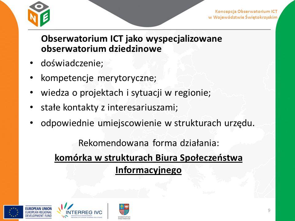 Obserwatorium ICT jako wyspecjalizowane obserwatorium dziedzinowe doświadczenie; kompetencje merytoryczne; wiedza o projektach i sytuacji w regionie; stałe kontakty z interesariuszami; odpowiednie umiejscowienie w strukturach urzędu.