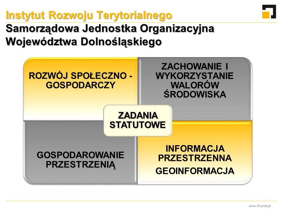 www.irt.wroc.pl Instytut Rozwoju Terytorialnego Samorządowa Jednostka Organizacyjna Województwa Dolnośląskiego ROZWÓJ SPOŁECZNO - GOSPODARCZY ZACHOWANIE I WYKORZYSTANIE WALORÓW ŚRODOWISKA GOSPODAROWANIE PRZESTRZENIĄ INFORMACJA PRZESTRZENNA GEOINFORMACJA ZADANIA STATUTOWE