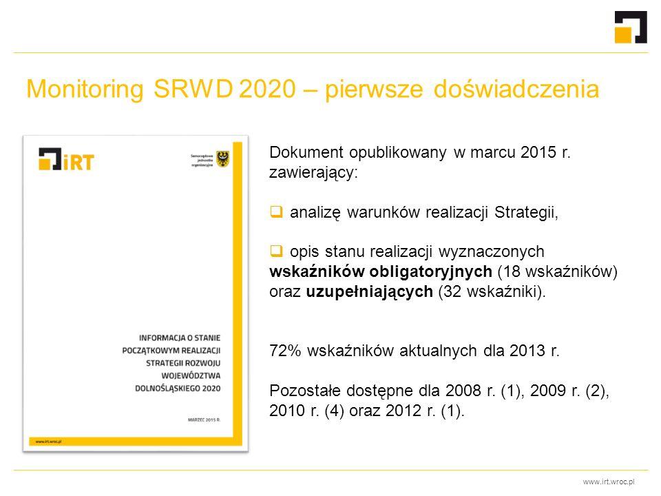www.irt.wroc.pl Monitoring SRWD 2020 – pierwsze doświadczenia Dokument opublikowany w marcu 2015 r.