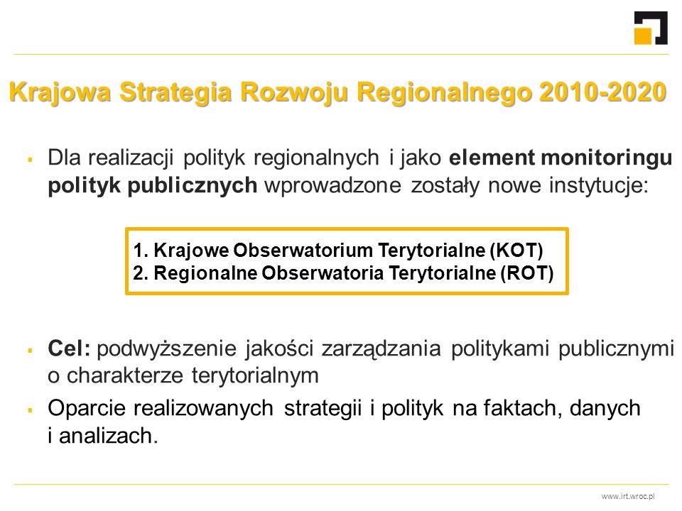 www.irt.wroc.pl Krajowa Strategia Rozwoju Regionalnego 2010-2020  Dla realizacji polityk regionalnych i jako element monitoringu polityk publicznych wprowadzone zostały nowe instytucje:  Cel: podwyższenie jakości zarządzania politykami publicznymi o charakterze terytorialnym  Oparcie realizowanych strategii i polityk na faktach, danych i analizach.