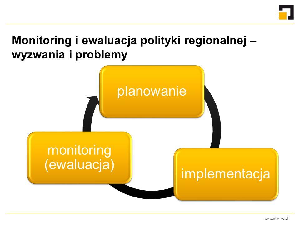 www.irt.wroc.pl Monitoring i ewaluacja polityki regionalnej – wyzwania i problemy planowanieimplementacja monitoring (ewaluacja)