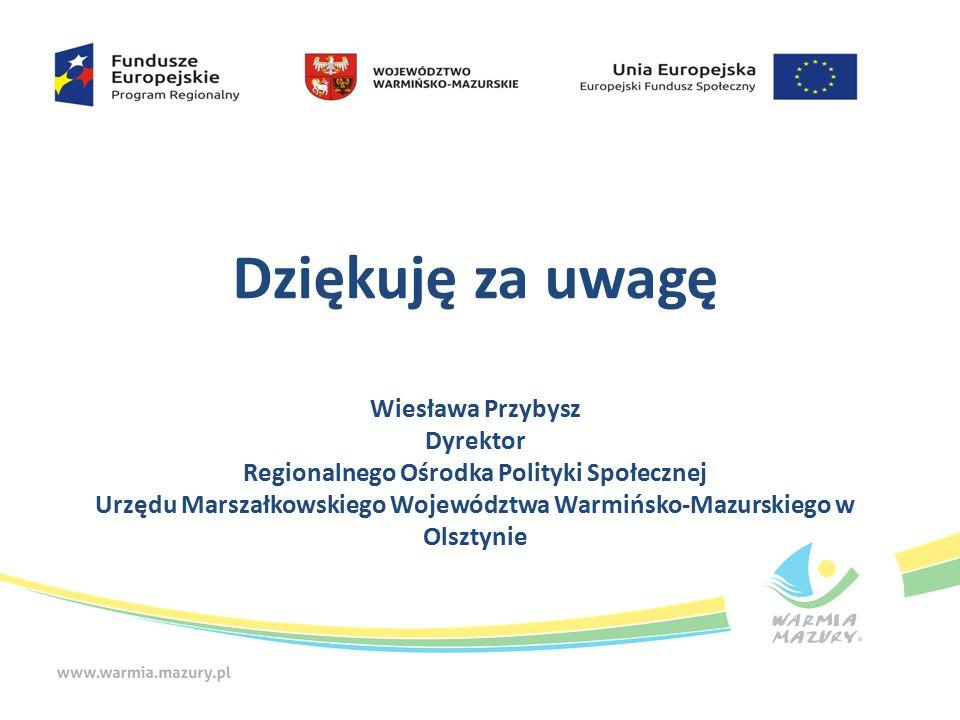 Dziękuję za uwagę Wiesława Przybysz Dyrektor Regionalnego Ośrodka Polityki Społecznej Urzędu Marszałkowskiego Województwa Warmińsko-Mazurskiego w Olsztynie