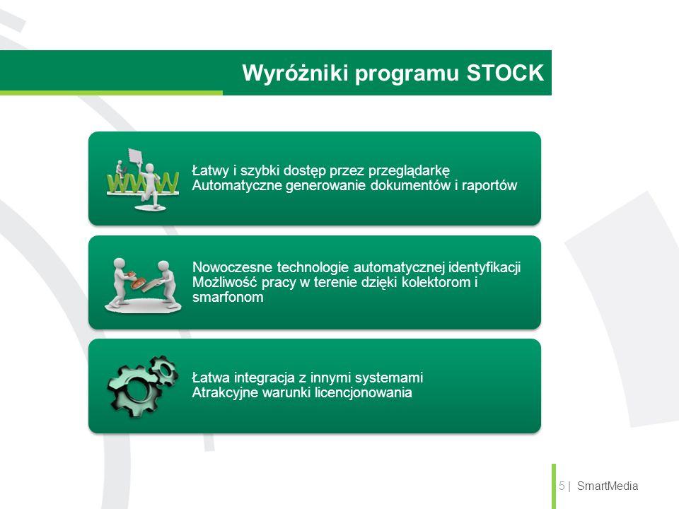 Wyróżniki programu STOCK 5 | SmartMedia Łatwy i szybki dostęp przez przeglądarkę Automatyczne generowanie dokumentów i raportów Nowoczesne technologie