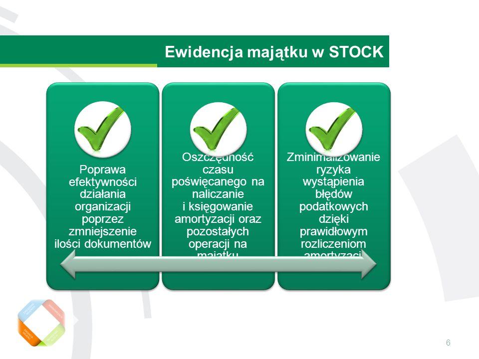 6 Wartość rezydualna środka trwałego Ewidencja majątku w STOCK Poprawa efektywności działania organizacji poprzez zmniejszenie ilości dokumentów Oszczędność czasu poświęcanego na naliczanie i księgowanie amortyzacji oraz pozostałych operacji na majątku Zminimalizowanie ryzyka wystąpienia błędów podatkowych dzięki prawidłowym rozliczeniom amortyzacji