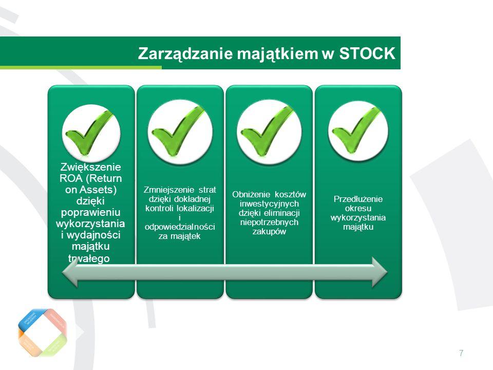 7 Wartość rezydualna środka trwałego Zarządzanie majątkiem w STOCK Zwiększenie ROA (Return on Assets) dzięki poprawieniu wykorzystania i wydajności majątku trwałego Zmniejszenie strat dzięki dokładnej kontroli lokalizacji i odpowiedzialności za majątek Obniżenie kosztów inwestycyjnych dzięki eliminacji niepotrzebnych zakupów Przedłużenie okresu wykorzystania majątku