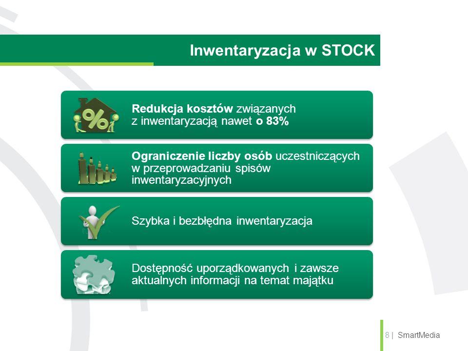 Inwentaryzacja w STOCK 8 | SmartMedia Redukcja kosztów związanych z inwentaryzacją nawet o 83% Ograniczenie liczby osób uczestniczących w przeprowadzaniu spisów inwentaryzacyjnych Szybka i bezbłędna inwentaryzacja Dostępność uporządkowanych i zawsze aktualnych informacji na temat majątku