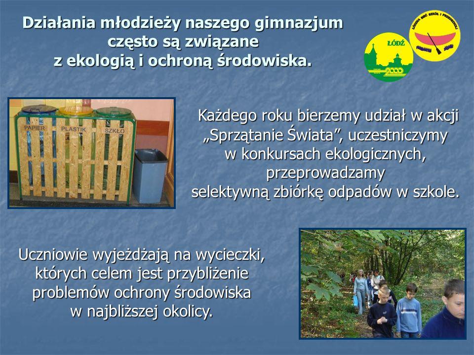 """Każdego roku bierzemy udział w akcji """"Sprzątanie Świata , uczestniczymy w konkursach ekologicznych, przeprowadzamy Każdego roku bierzemy udział w akcji """"Sprzątanie Świata , uczestniczymy w konkursach ekologicznych, przeprowadzamy selektywną zbiórkę odpadów w szkole."""