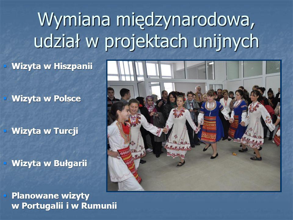  Wizyta w Polsce  Wizyta w Turcji  Wizyta w Bułgarii  Planowane wizyty w Portugalii i w Rumunii  Wizyta w Hiszpanii Wymiana międzynarodowa, udział w projektach unijnych