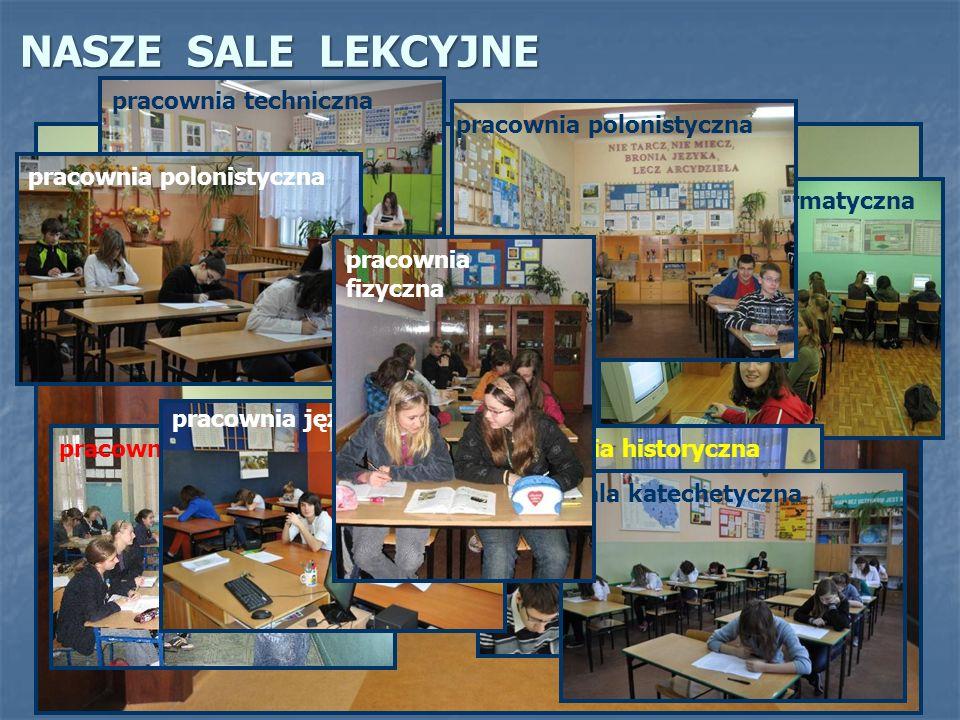 NASZE SALE LEKCYJNE pracownia informatyczna pracownia matematyczna pracownia techniczna pracownia historyczna sala katechetyczna pracownia polonistyczna pracownia językowa pracownia polonistyczna pracownia fizyczna