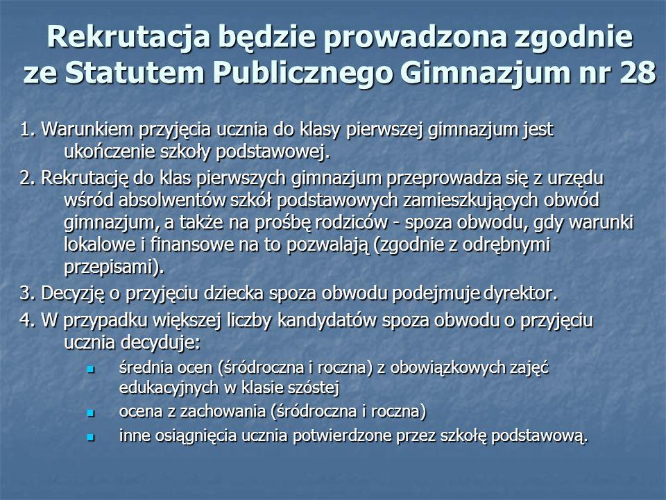 Rekrutacja będzie prowadzona zgodnie ze Statutem Publicznego Gimnazjum nr 28 1.