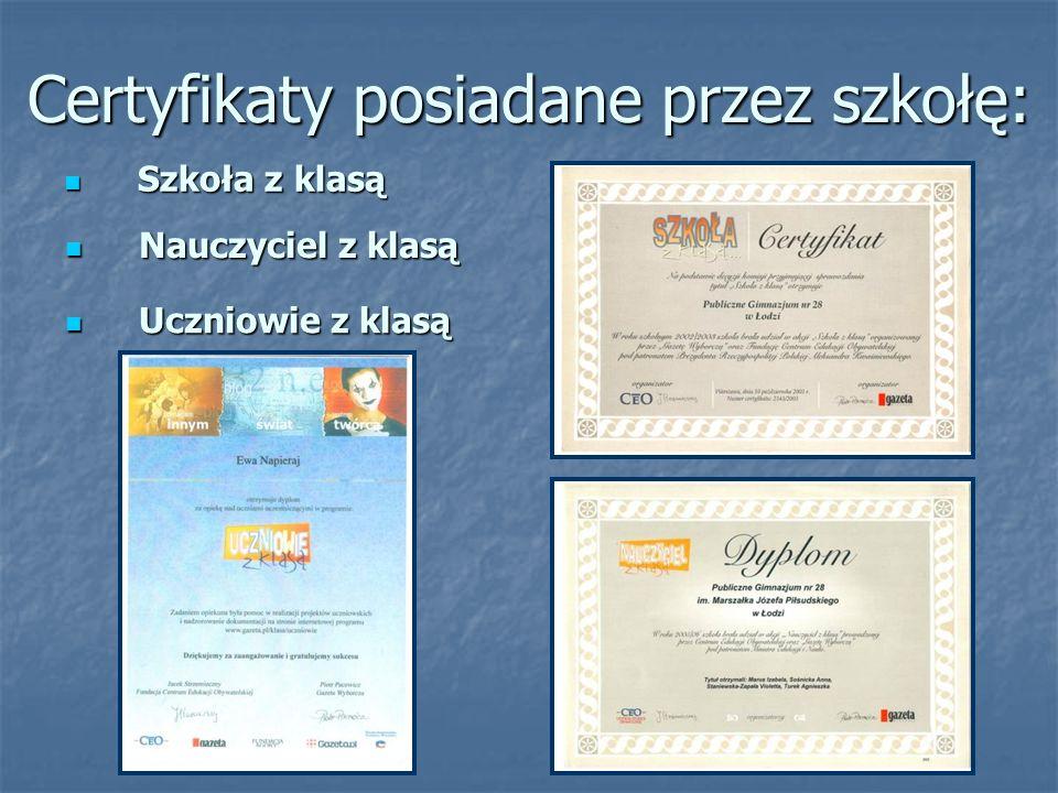 Certyfikaty posiadane przez szkołę: Uczniowie z klasą Uczniowie z klasą Szkoła z klasą Szkoła z klasą Nauczyciel z klasą Nauczyciel z klasą