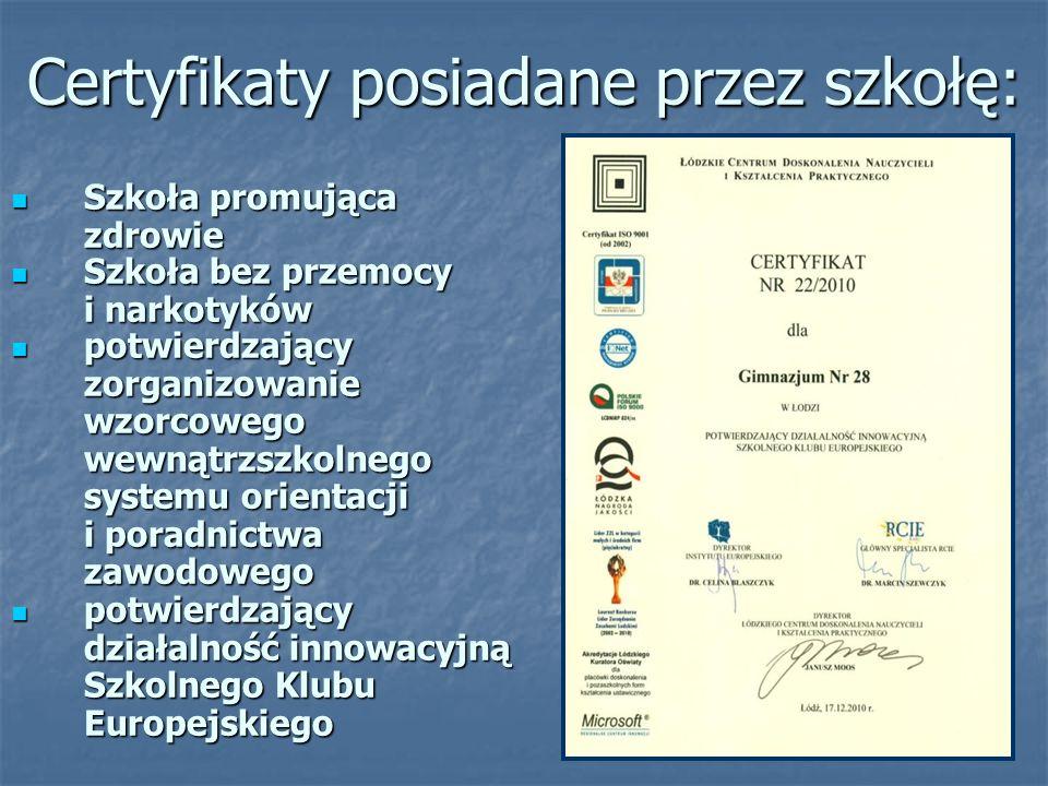 Certyfikaty posiadane przez szkołę: Szkoła promująca zdrowie Szkoła promująca zdrowie potwierdzający działalność innowacyjną Szkolnego Klubu Europejskiego potwierdzający działalność innowacyjną Szkolnego Klubu Europejskiego Szkoła bez przemocy i narkotyków Szkoła bez przemocy i narkotyków potwierdzający zorganizowanie wzorcowego wewnątrzszkolnego systemu orientacji i poradnictwa zawodowego potwierdzający zorganizowanie wzorcowego wewnątrzszkolnego systemu orientacji i poradnictwa zawodowego