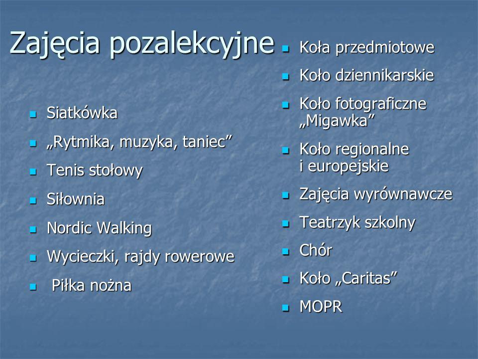 """Zajęcia pozalekcyjne Siatkówka Siatkówka """"Rytmika, muzyka, taniec """"Rytmika, muzyka, taniec Tenis stołowy Tenis stołowy Siłownia Siłownia Nordic Walking Nordic Walking Wycieczki, rajdy rowerowe Wycieczki, rajdy rowerowe Piłka nożna Piłka nożna Koła przedmiotowe Koła przedmiotowe Koło dziennikarskie Koło dziennikarskie Koło fotograficzne """"Migawka Koło fotograficzne """"Migawka Koło regionalne i europejskie Koło regionalne i europejskie Zajęcia wyrównawcze Zajęcia wyrównawcze Teatrzyk szkolny Teatrzyk szkolny Chór Chór Koło """"Caritas Koło """"Caritas MOPR MOPR"""