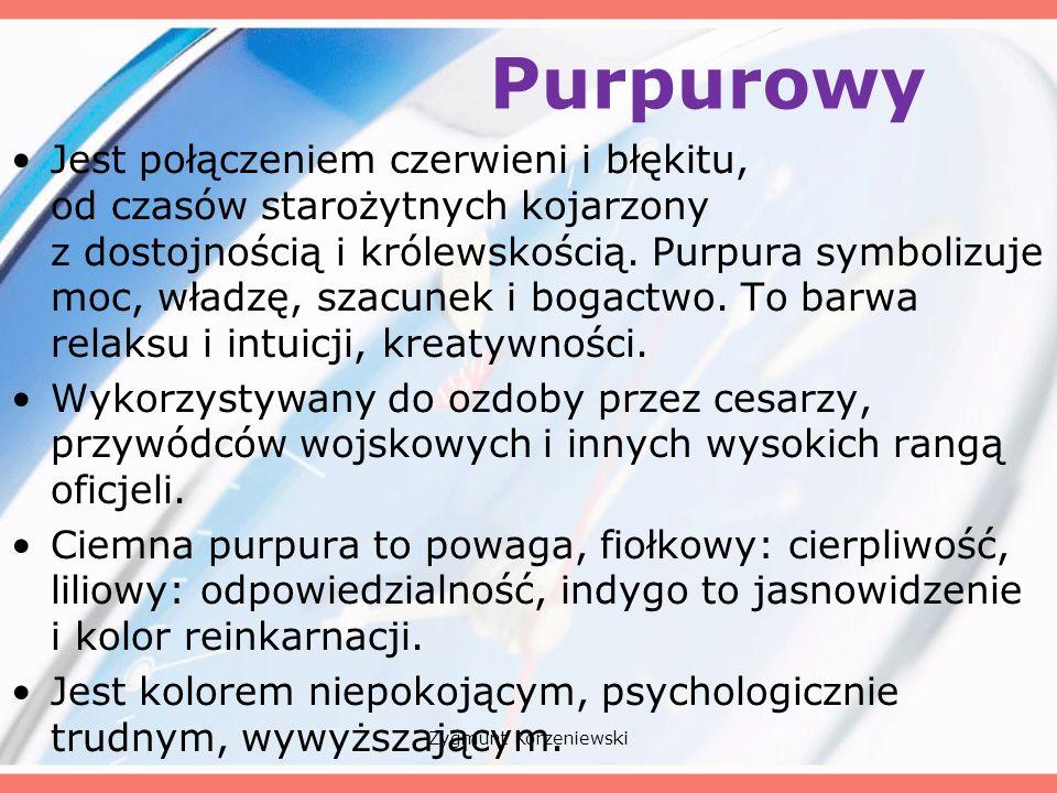 Purpurowy Jest połączeniem czerwieni i błękitu, od czasów starożytnych kojarzony z dostojnością i królewskością.