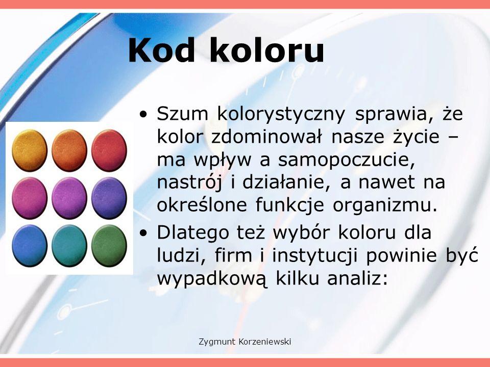 Kod koloru Szum kolorystyczny sprawia, że kolor zdominował nasze życie – ma wpływ a samopoczucie, nastrój i działanie, a nawet na określone funkcje organizmu.