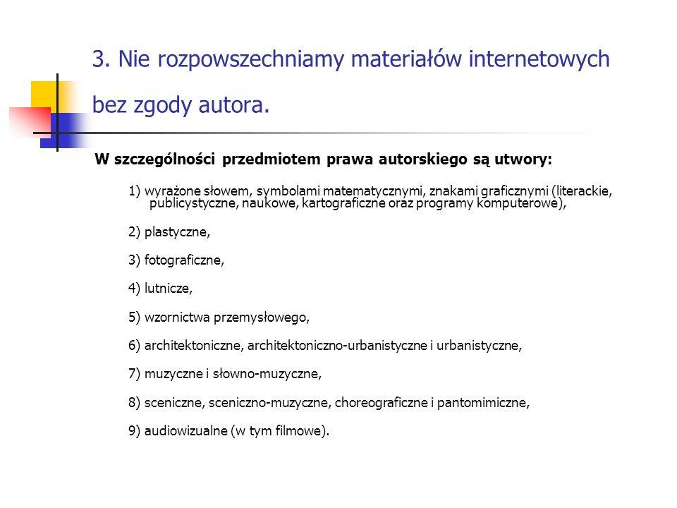 3. Nie rozpowszechniamy materiałów internetowych bez zgody autora.