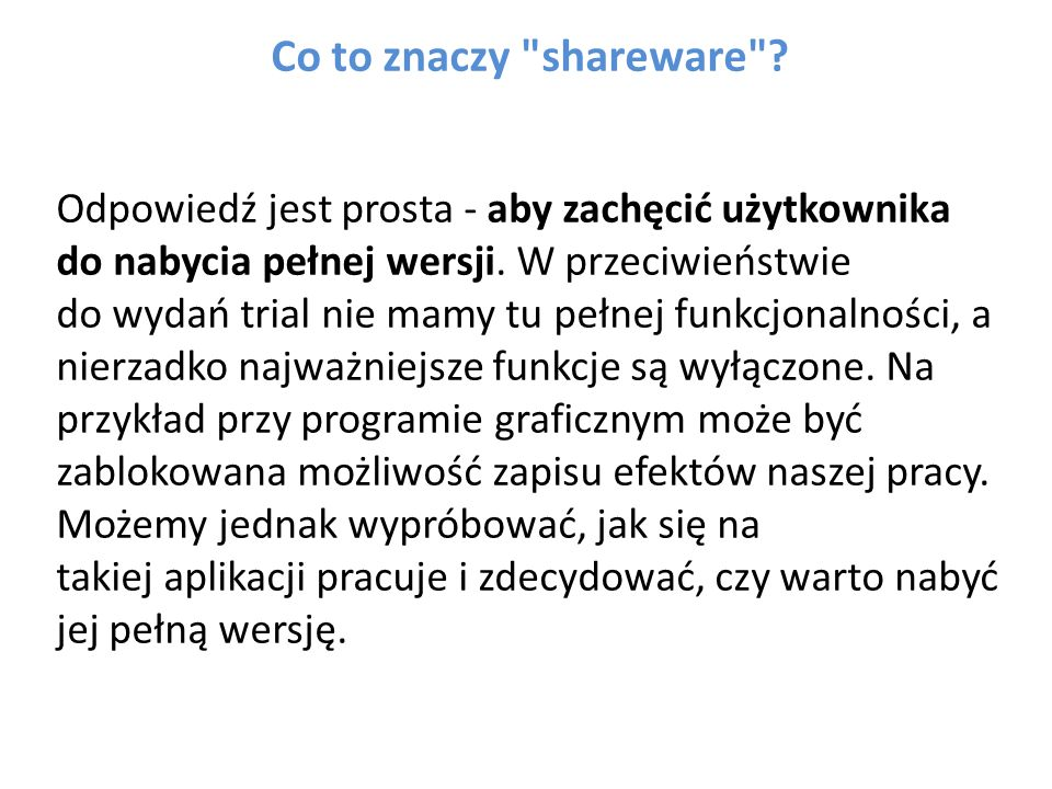 Co to znaczy shareware .