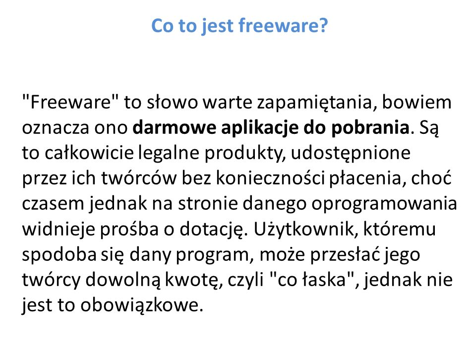 Co to jest freeware.