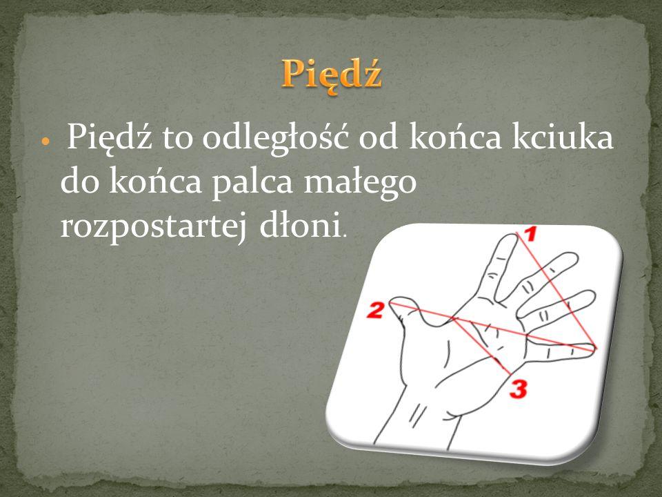 Piędź to odległość od końca kciuka do końca palca małego rozpostartej dłoni.