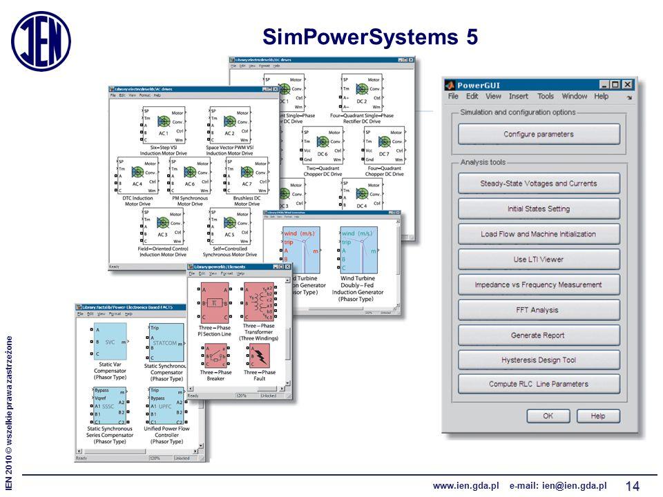 IEN 2010 © wszelkie prawa zastrzeżone www.ien.gda.pl e-mail: ien@ien.gda.pl 14 SimPowerSystems 5