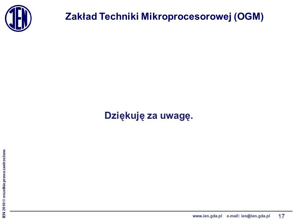 IEN 2010 © wszelkie prawa zastrzeżone www.ien.gda.pl e-mail: ien@ien.gda.pl 17 Zakład Techniki Mikroprocesorowej (OGM) Dziękuję za uwagę.