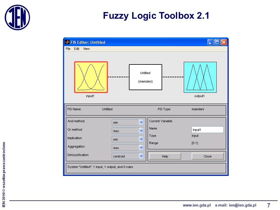 IEN 2010 © wszelkie prawa zastrzeżone www.ien.gda.pl e-mail: ien@ien.gda.pl 7 Fuzzy Logic Toolbox 2.1