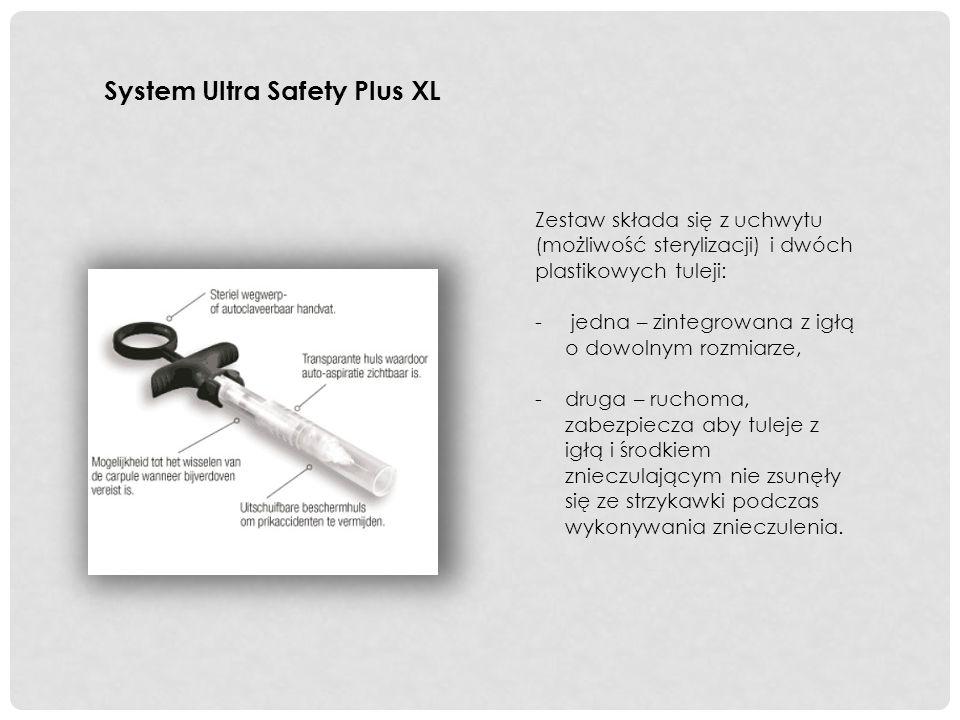 System Ultra Safety Plus XL Zestaw składa się z uchwytu (możliwość sterylizacji) i dwóch plastikowych tuleji: - jedna – zintegrowana z igłą o dowolnym