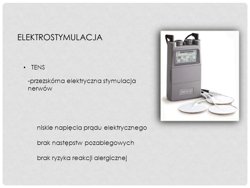 ELEKTROSTYMULACJA -przezskórna elektryczna stymulacja nerwów TENS niskie napięcia prądu elektrycznego brak następstw pozabiegowych brak ryzyka reakcji