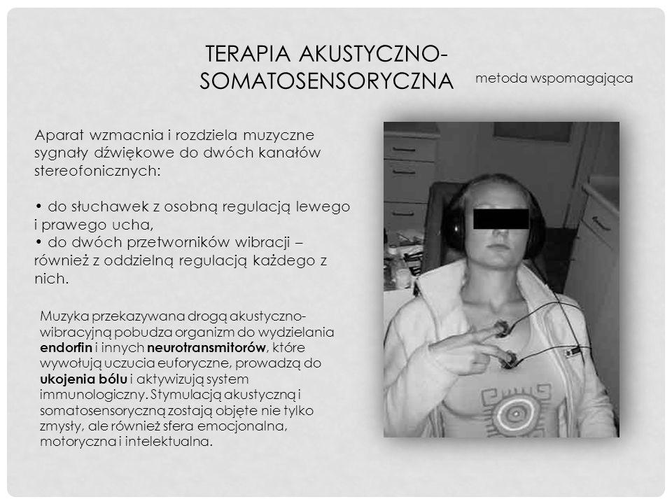 TERAPIA AKUSTYCZNO- SOMATOSENSORYCZNA Aparat wzmacnia i rozdziela muzyczne sygnały dźwiękowe do dwóch kanałów stereofonicznych: do słuchawek z osobną