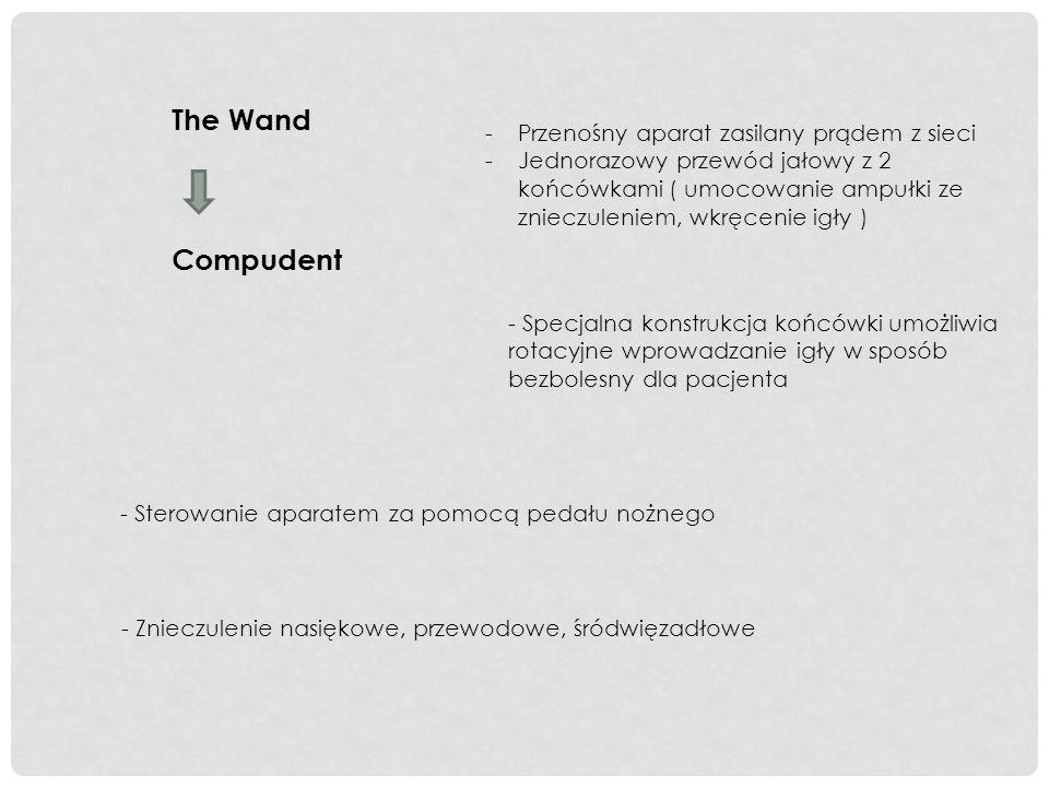 The Wand Compudent - Sterowanie aparatem za pomocą pedału nożnego -Przenośny aparat zasilany prądem z sieci -Jednorazowy przewód jałowy z 2 końcówkami
