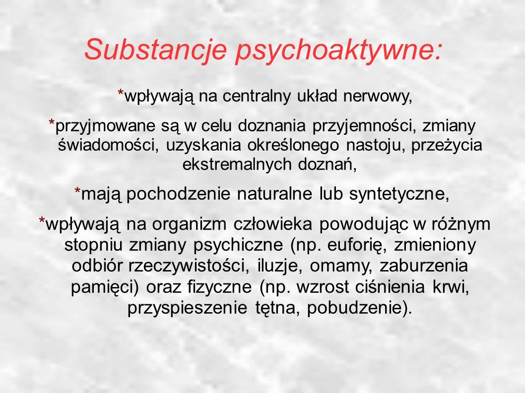 Substancje psychoaktywne: *wpływają na centralny układ nerwowy, *przyjmowane są w celu doznania przyjemności, zmiany świadomości, uzyskania określonego nastoju, przeżycia ekstremalnych doznań, * mają pochodzenie naturalne lub syntetyczne, *wpływają na organizm człowieka powodując w różnym stopniu zmiany psychiczne (np.