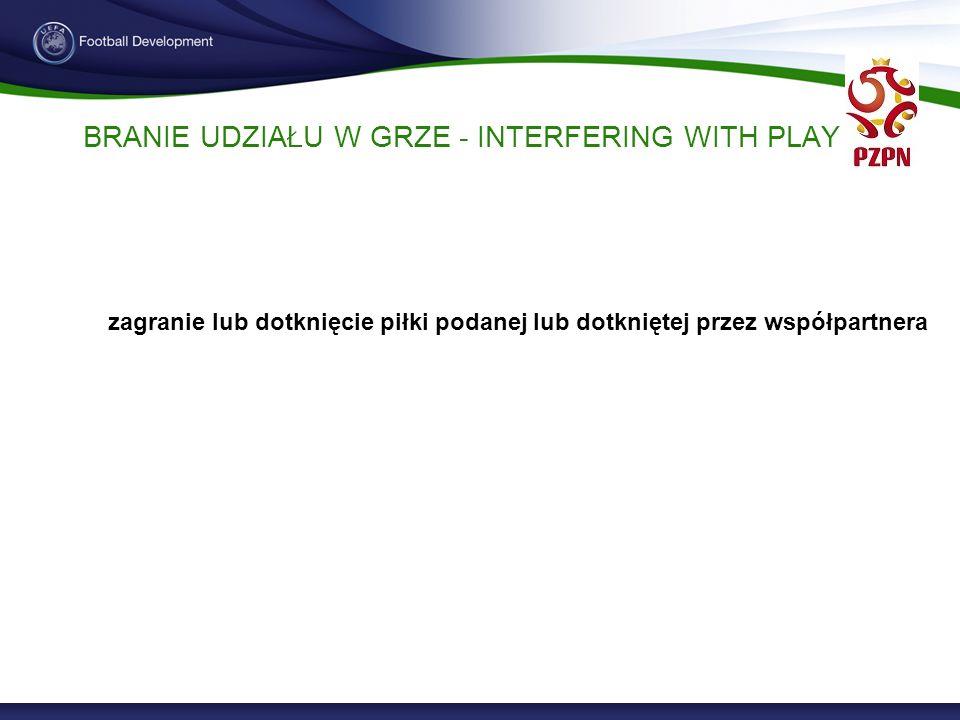 BRANIE UDZIAŁU W GRZE - INTERFERING WITH PLAY zagranie lub dotknięcie piłki podanej lub dotkniętej przez współpartnera