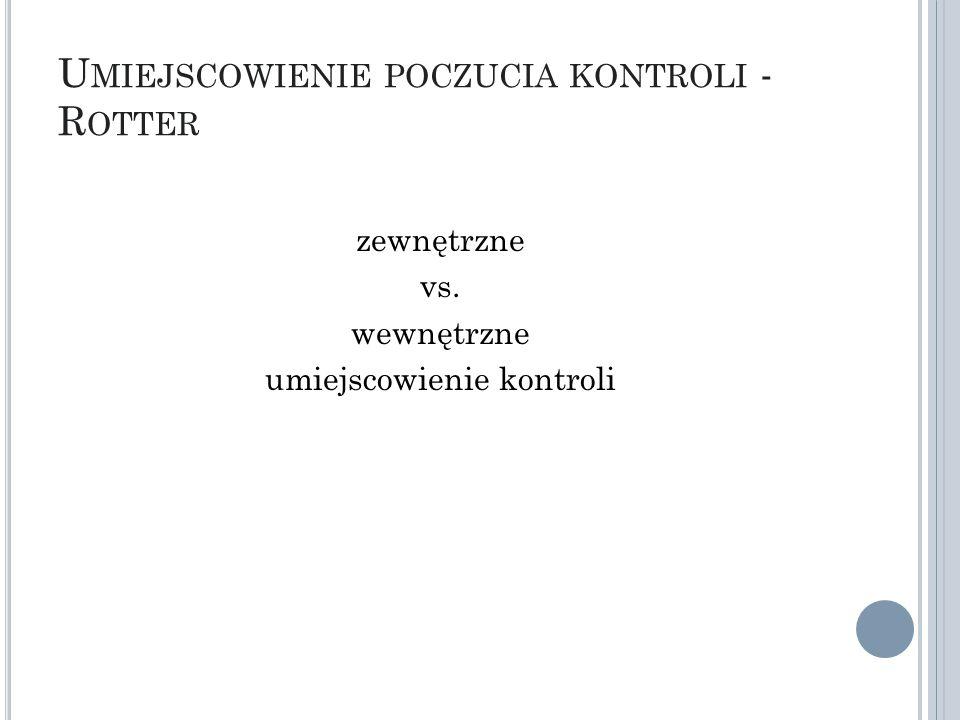U MIEJSCOWIENIE POCZUCIA KONTROLI - R OTTER zewnętrzne vs. wewnętrzne umiejscowienie kontroli