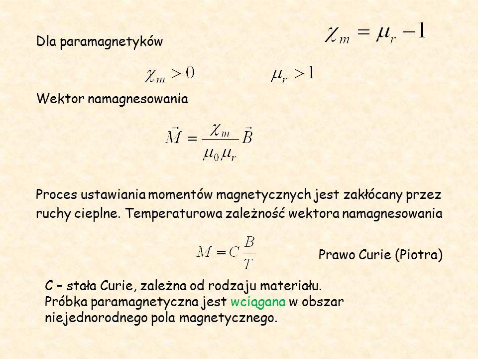 Dla paramagnetyków Wektor namagnesowania Proces ustawiania momentów magnetycznych jest zakłócany przez ruchy cieplne.
