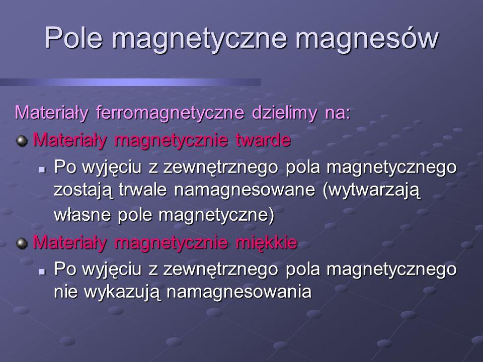 Pole magnetyczne magnesów Materiały ferromagnetyczne dzielimy na: Materiały magnetycznie twarde Po wyjęciu z zewnętrznego pola magnetycznego zostają t