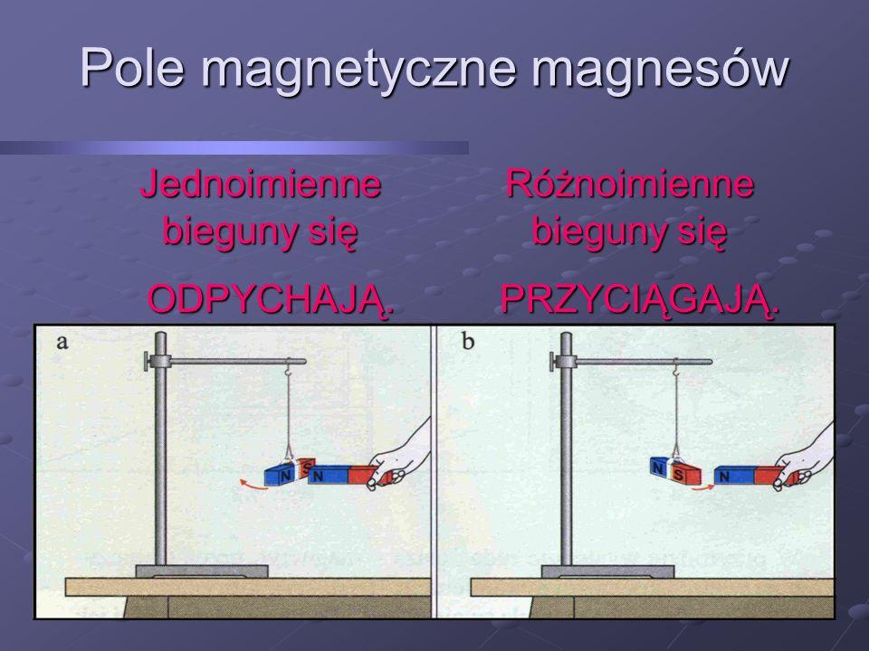 Pole magnetyczne magnesów Różnoimienne bieguny się PRZYCIĄGAJĄ. PRZYCIĄGAJĄ. Jednoimienne bieguny się ODPYCHAJĄ. ODPYCHAJĄ.
