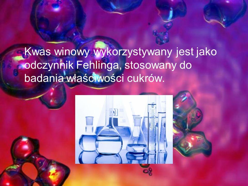 Kwas winowy wykorzystywany jest jako odczynnik Fehlinga, stosowany do badania właściwości cukrów.