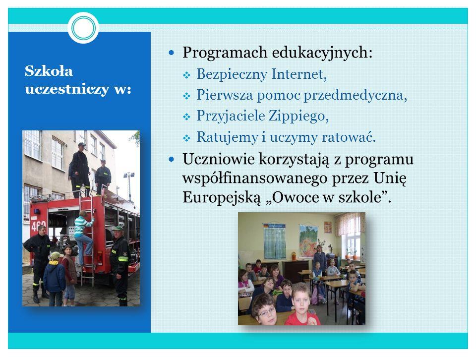 Szkoła realizuje programy: Edukacji ekonomicznej uczniów klas I- III, Edukacji zdrowotnej uczniów klas I- III, Koła Młodego Konsumenta, Edytorskie poc