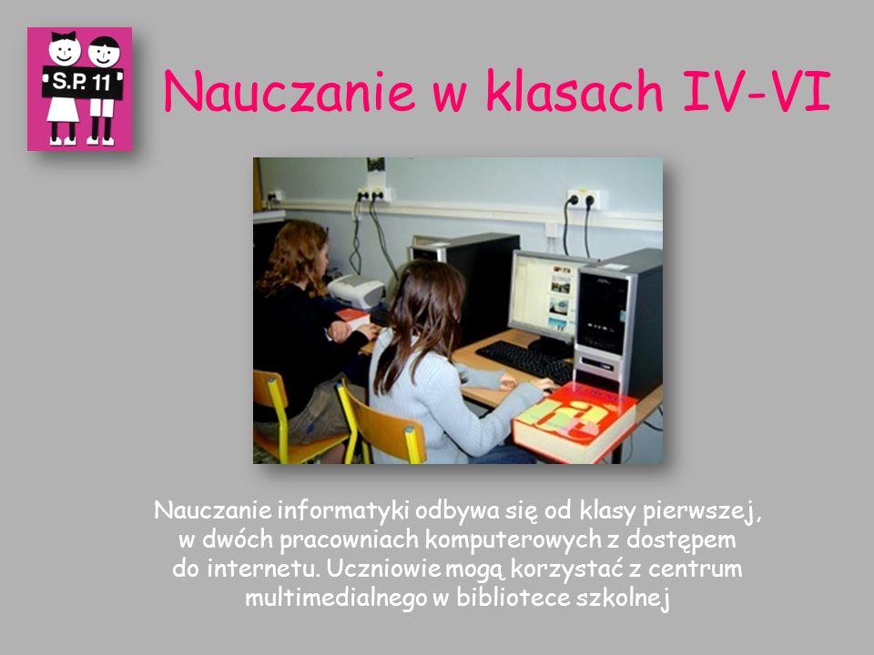 Nauczanie informatyki odbywa się od klasy pierwszej, w dwóch pracowniach komputerowych z dostępem do internetu.