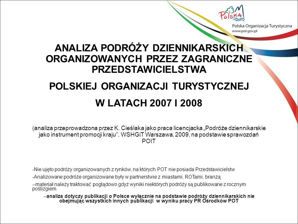 ANALIZA PODRÓŻY DZIENNIKARSKICH ORGANIZOWANYCH PRZEZ ZAGRANICZNE PRZEDSTAWICIELSTWA POLSKIEJ ORGANIZACJI TURYSTYCZNEJ W LATACH 2007 I 2008 (analiza przeprowadzona przez K.