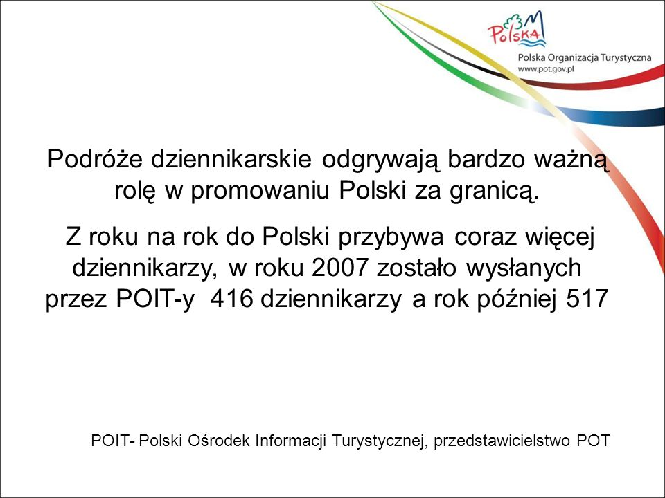 Struktura rodzajowa produktów w latach 2007 i 2008 łącznie (wszystkie rynki objęte działaniami POIT razem) ProduktRynki razem Warszawa93 Kraków179 Wrocław41 Poznań16 Mazury31 Gdańsk362 Góry49 Morze31 Kultura54 Inne184 O czym pisano w wyniku podróży ?