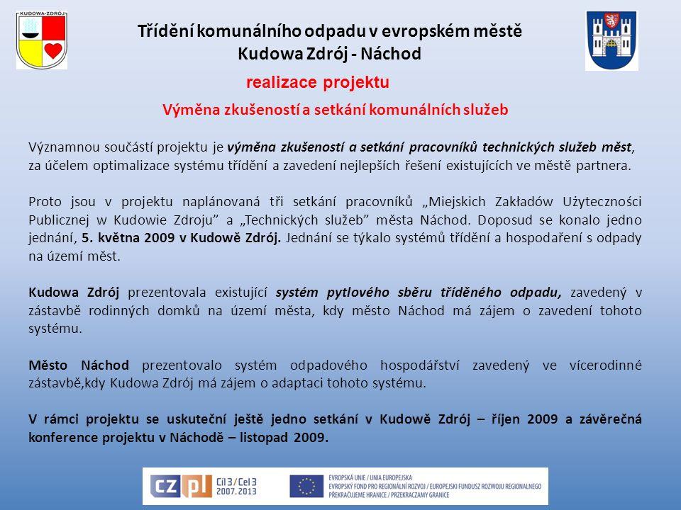 Třídění komunálního odpadu v evropském městě Kudowa Zdrój - Náchod Výměna zkušeností a setkání komunálních služeb Významnou součástí projektu je výměna zkušeností a setkání pracovníků technických služeb měst, za účelem optimalizace systému třídění a zavedení nejlepších řešení existujících ve městě partnera.