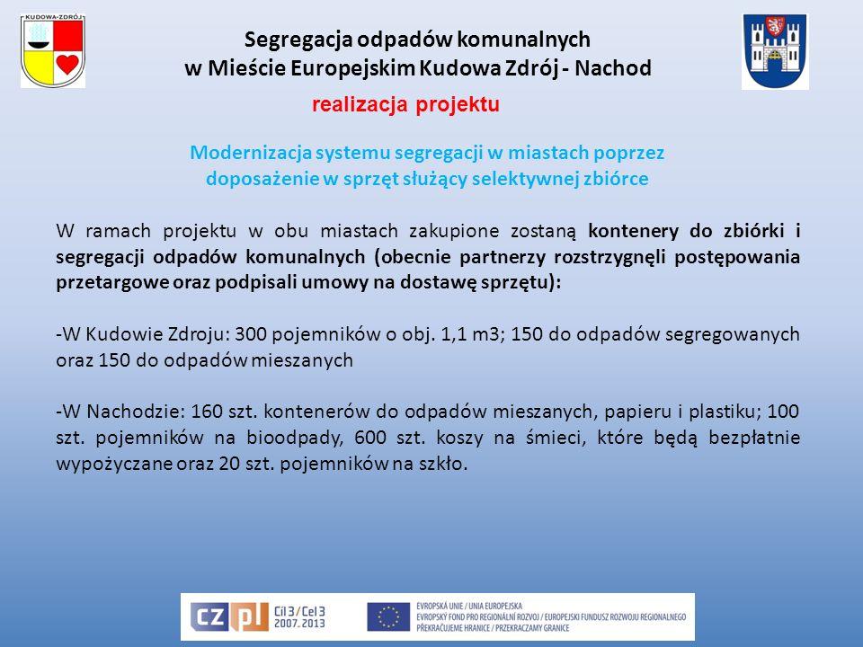 Segregacja odpadów komunalnych w Mieście Europejskim Kudowa Zdrój - Nachod Modernizacja systemu segregacji w miastach poprzez doposażenie w sprzęt służący selektywnej zbiórce W ramach projektu w obu miastach zakupione zostaną kontenery do zbiórki i segregacji odpadów komunalnych (obecnie partnerzy rozstrzygnęli postępowania przetargowe oraz podpisali umowy na dostawę sprzętu): -W Kudowie Zdroju: 300 pojemników o obj.